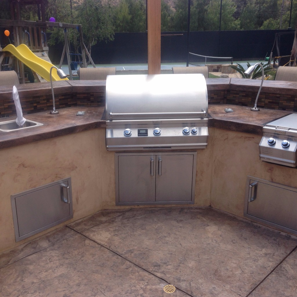Custom BBQ Grill with concrete countertops