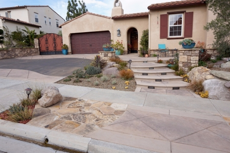 Sidewalk Features with stamped concrete and stone