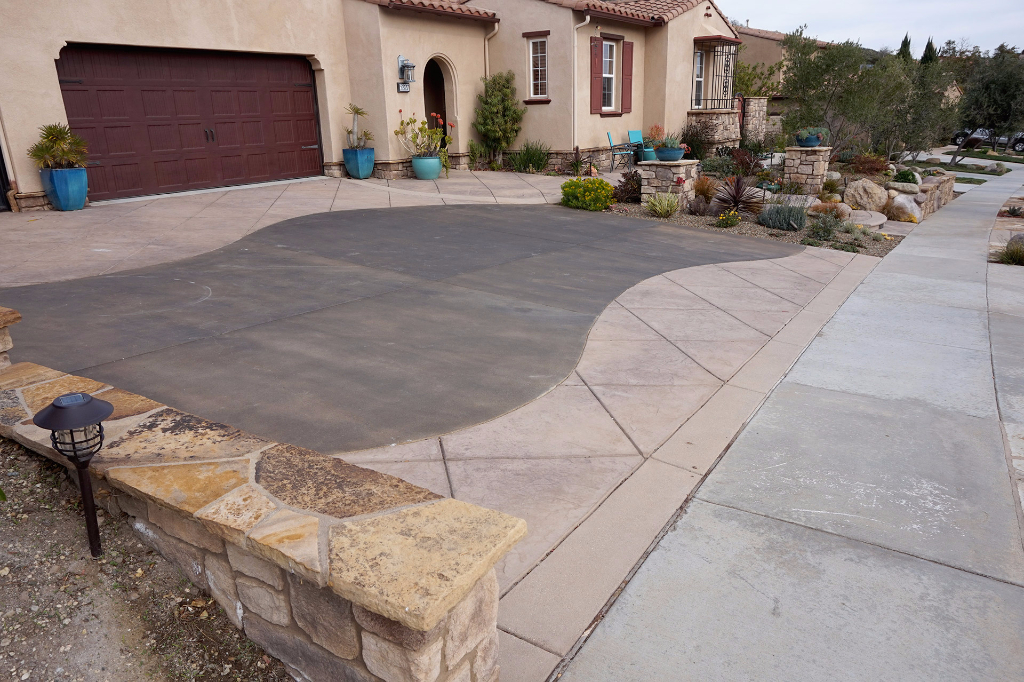 Stone Retaining wall and Stamped Concrete Driveway	 in Newbury Park