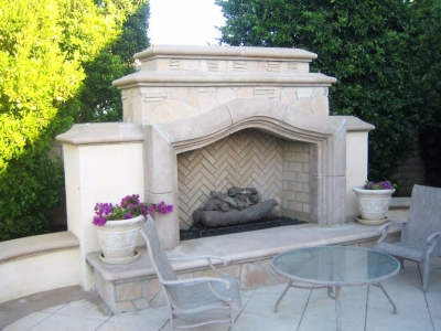 Stone and Concrete Outdoor Fireplace