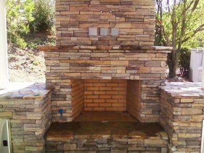 Detailed custom stone fireplace