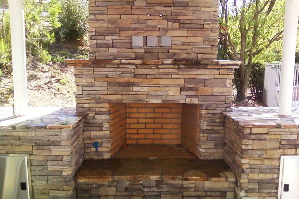 Detailed custom stone fireplace