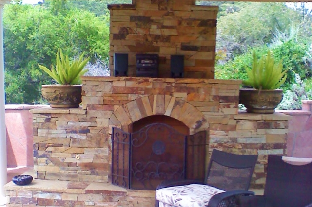 Detailed Stone Fireplace