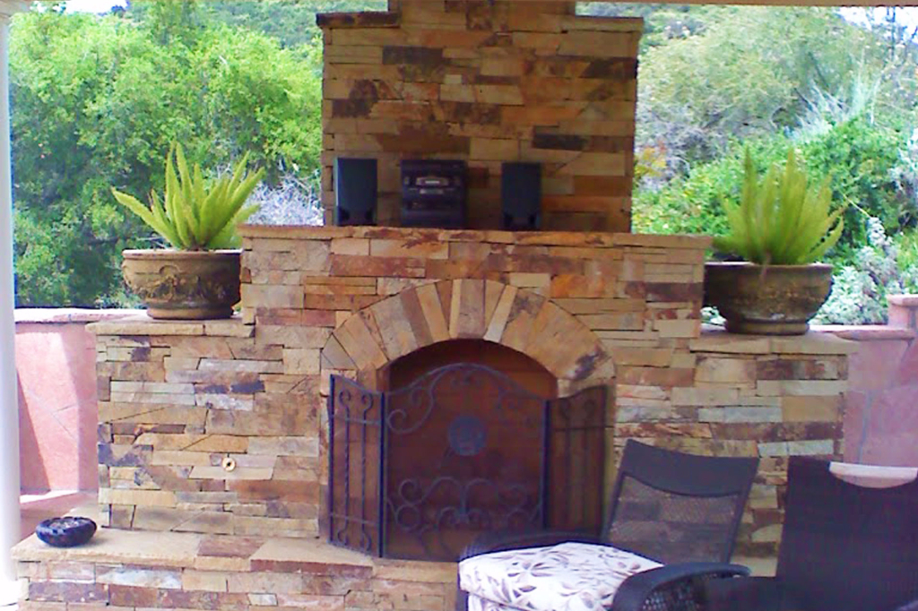 Backyard fireplace made of stone