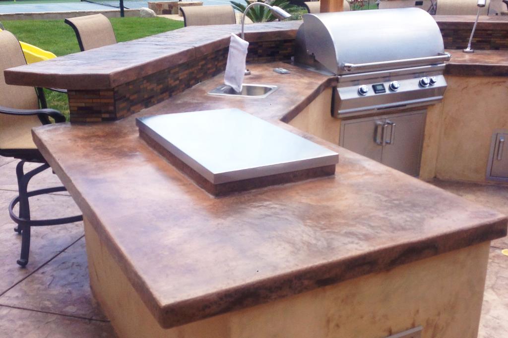 Backyard Custom Concrete Countertop Barbecue Setup
