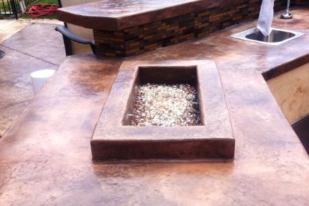 Backyard Concrete Countertop Fire Feature