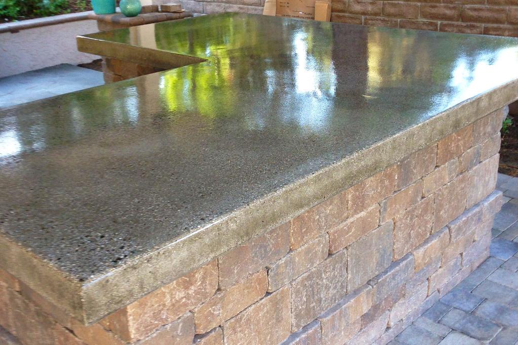 Closeup Outdoor Concrete Countertop