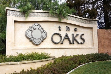 Oaks mall custom concrete sign