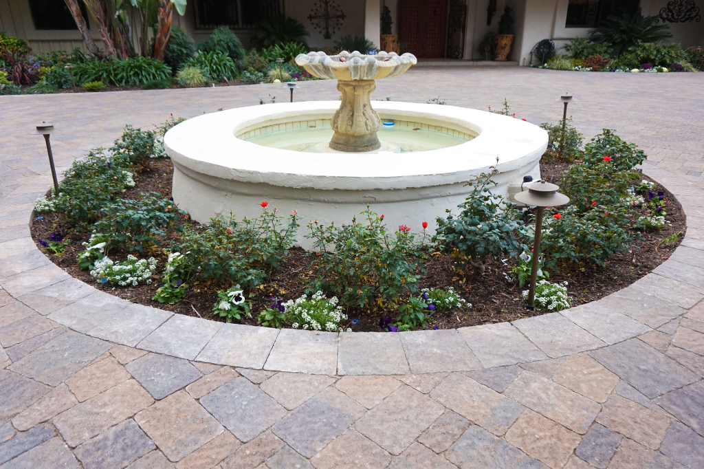 Paver Driveway with Custom Concrete Water Feature