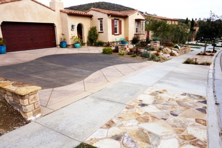 Stamped Concrete Driveway and sidewalk features