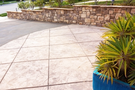 Stamped Concrete Driveway and Retaining Wall