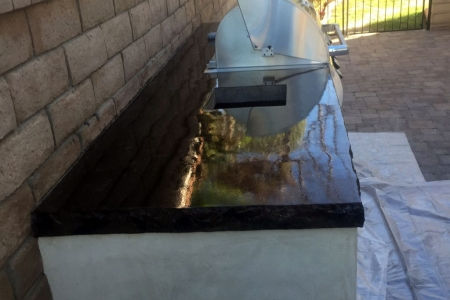Black Concrete Countertops with Barbecue