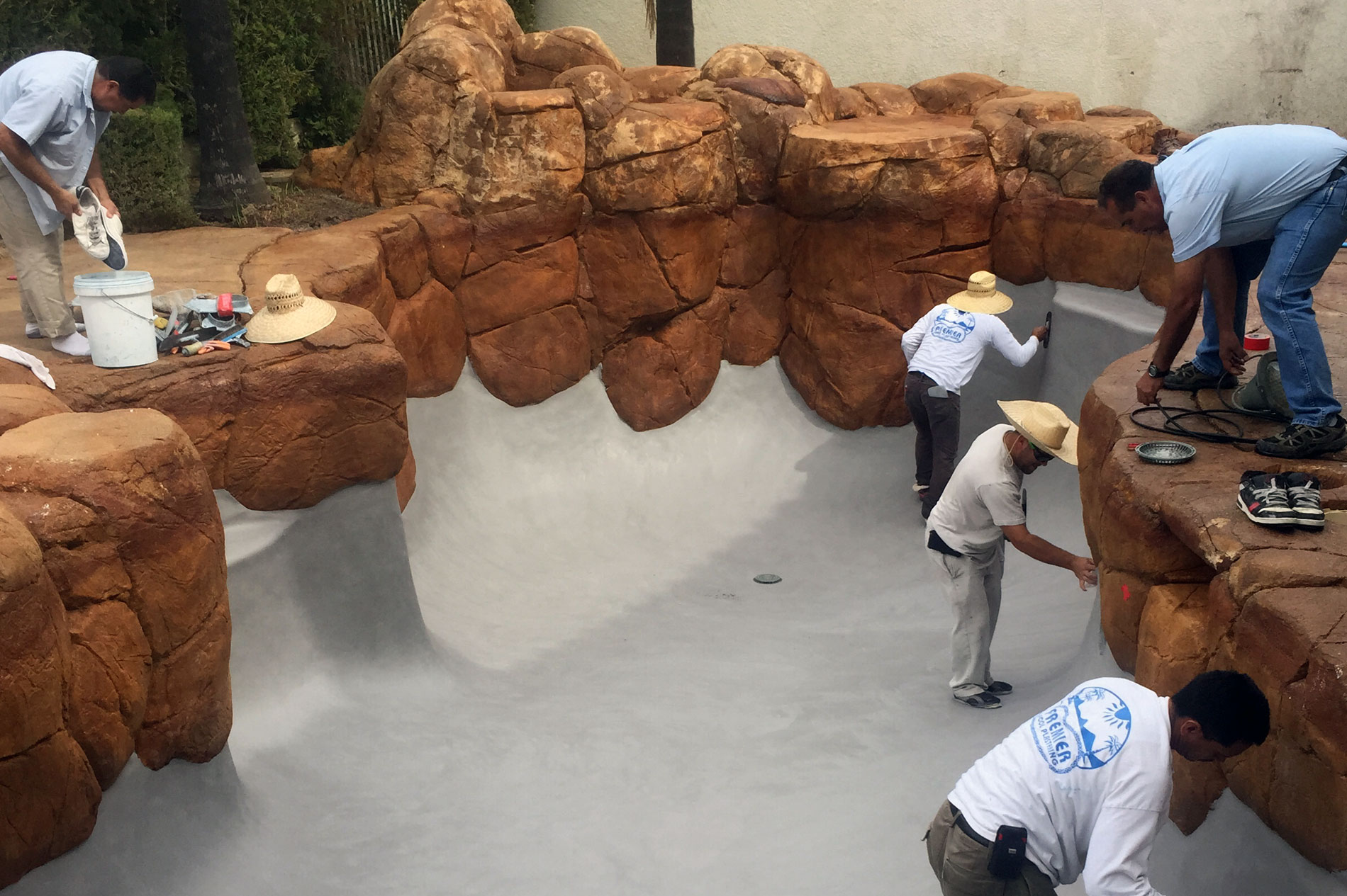 Concrete and Stonework Pool Progress Shot