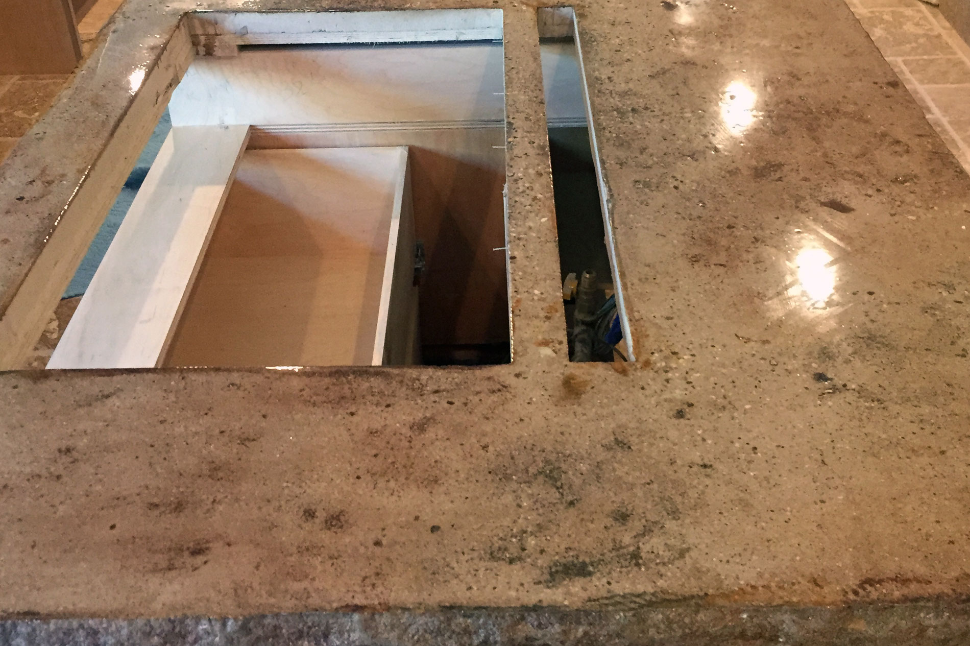 Kitchen Concrete Countertops Ready for Sink Install